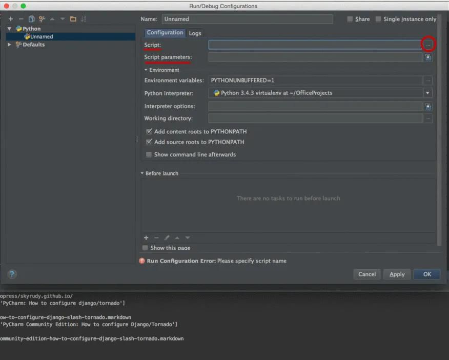How to configure Django and Tornado in PyCharm Community